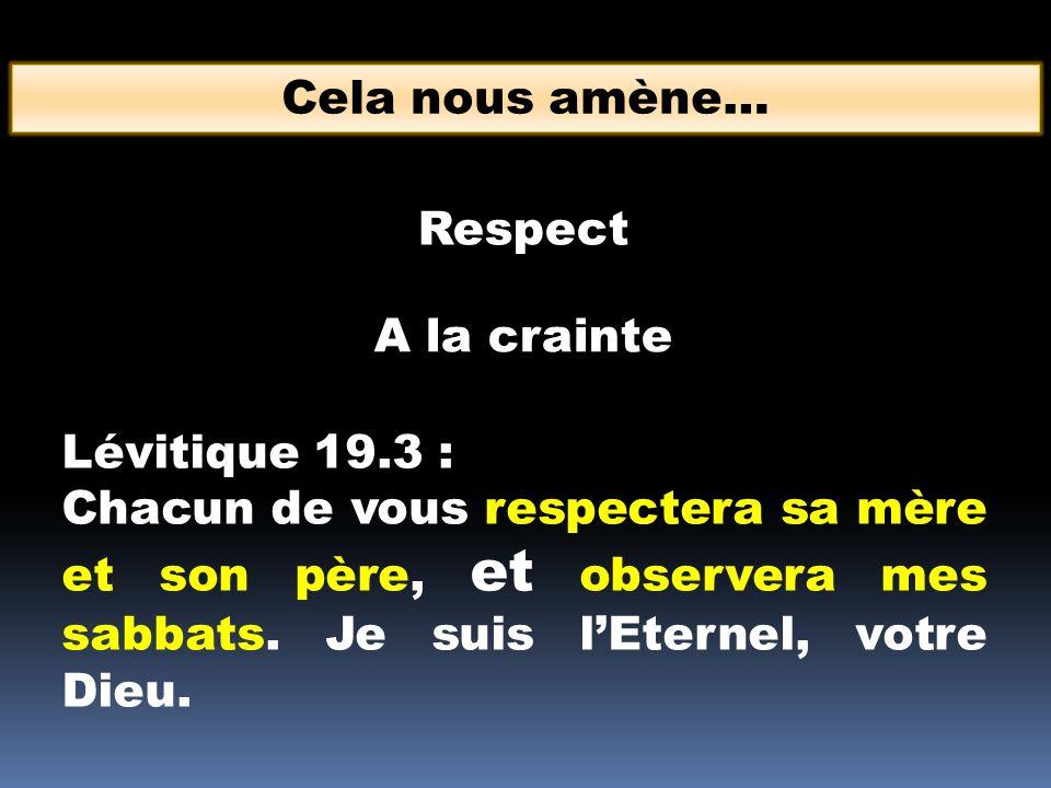 Cela nous amène… A la crainte Respect Lévitique 19.3 : Chacun de vous respectera sa mère et son père, et observera mes sabbats. Je suis lEternel, votr