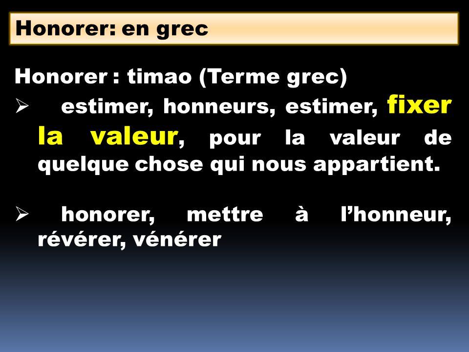 Honorer : timao (Terme grec) estimer, honneurs, estimer, fixer la valeur, pour la valeur de quelque chose qui nous appartient. honorer, mettre à lhonn