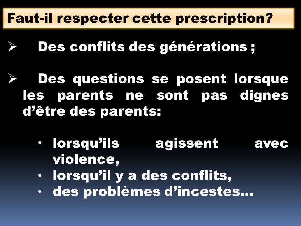 Faut-il respecter cette prescription? Des conflits des générations ; Des questions se posent lorsque les parents ne sont pas dignes dêtre des parents:
