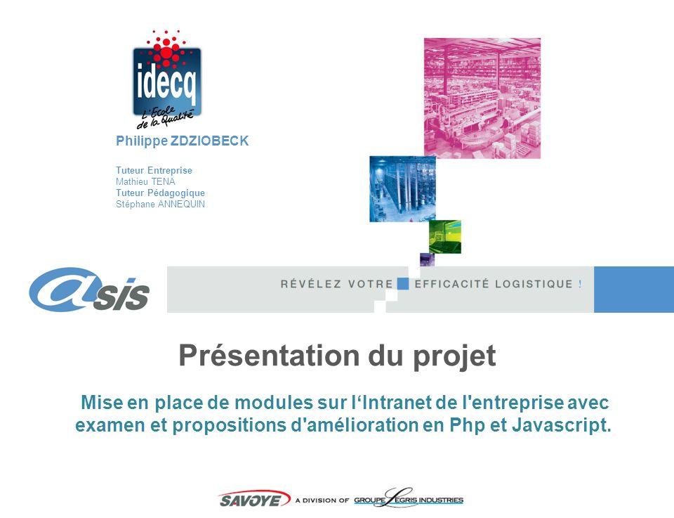 Mise en place de modules sur lIntranet de l'entreprise avec examen et propositions d'amélioration en Php et Javascript. Philippe ZDZIOBECK Tuteur Entr