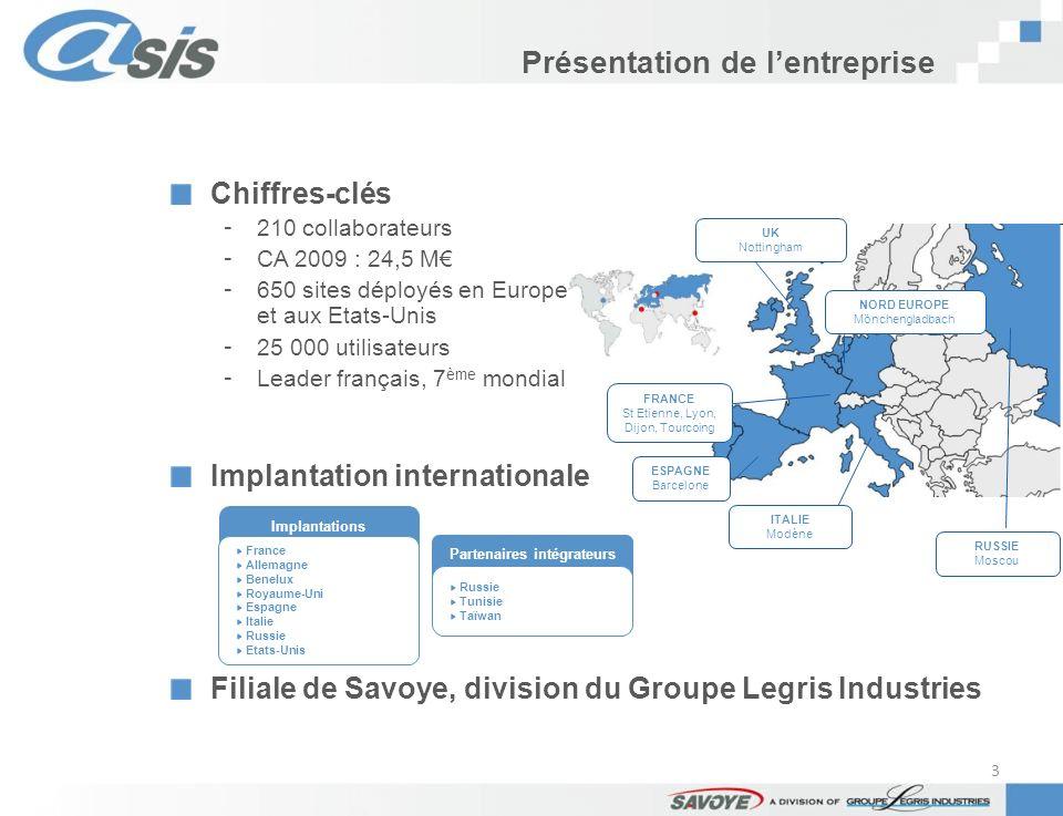 Présentation de lentreprise Implantations France Allemagne Benelux Royaume-Uni Espagne Italie Russie Etats-Unis FRANCE St Etienne, Lyon, Dijon, Tourco