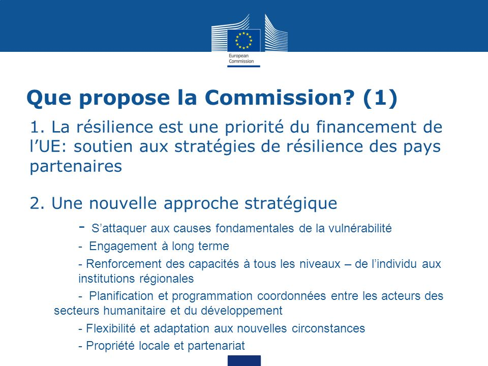 Que propose la Commission. (1) 1.