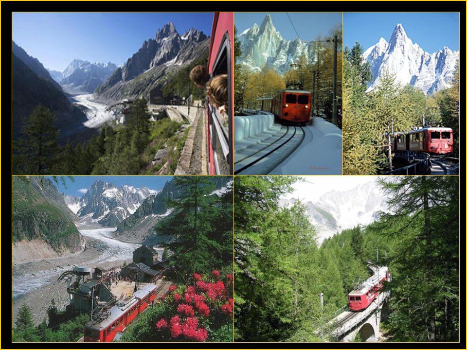Le chemin de fer du Montenvers à crémaillère de 5,1 kms relie Chamonix 1042 m à la mer de glace 1913 m.Il fut mis en service en 1919.