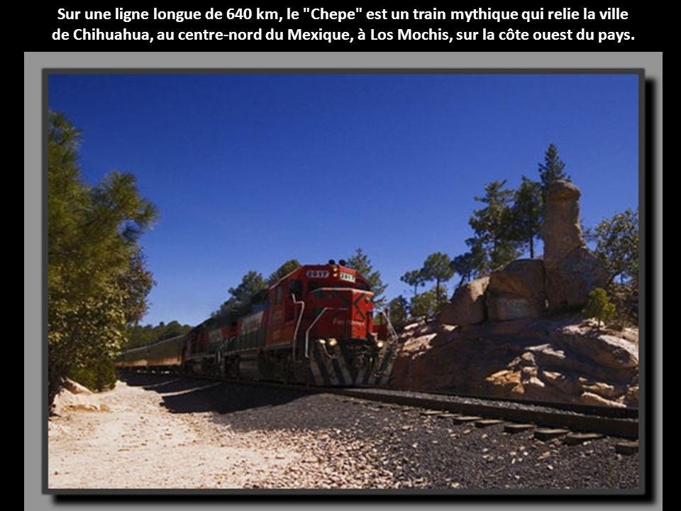 Sur une ligne longue de 640 km, le Chepe est un train mythique qui relie la ville de Chihuahua, au centre-nord du Mexique, à Los Mochis, sur la côte ouest du pays.