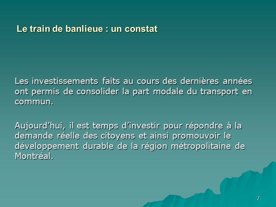 7 Les investissements faits au cours des dernières années ont permis de consolider la part modale du transport en commun. Aujourdhui, il est temps din