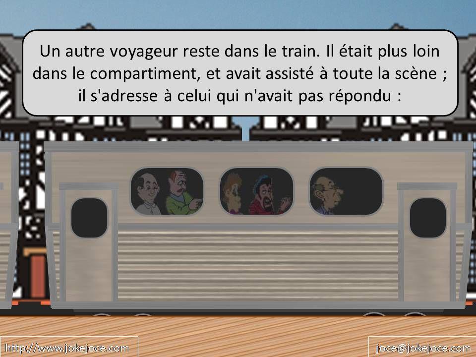 Un autre voyageur reste dans le train.
