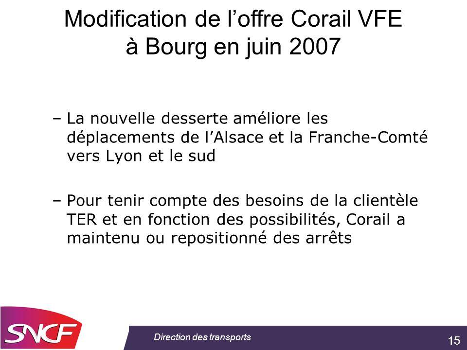 15 Direction des transports –La nouvelle desserte améliore les déplacements de lAlsace et la Franche-Comté vers Lyon et le sud –Pour tenir compte des