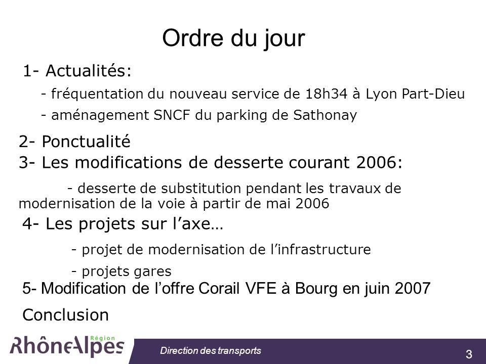 3 Direction des transports Ordre du jour 1- Actualités: - fréquentation du nouveau service de 18h34 à Lyon Part-Dieu - aménagement SNCF du parking de