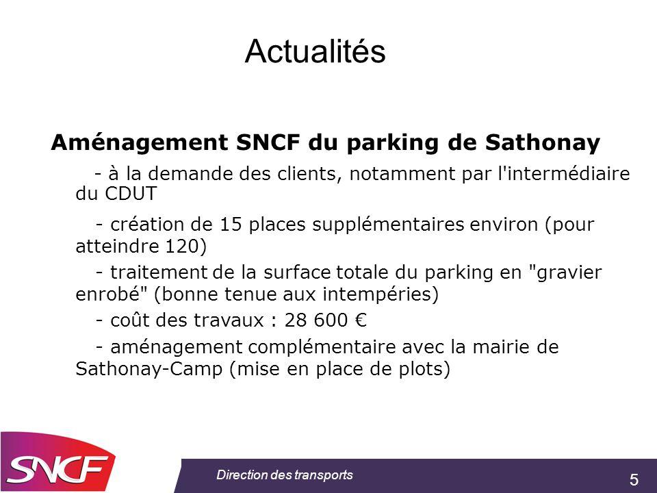 5 Direction des transports Actualités Aménagement SNCF du parking de Sathonay - à la demande des clients, notamment par l'intermédiaire du CDUT - créa