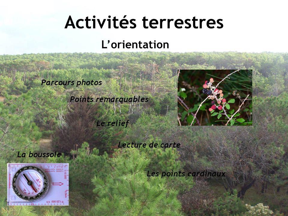 Activités terrestres Lorientation Parcours photos Points remarquables Lecture de carte Le relief Les points cardinaux La boussole