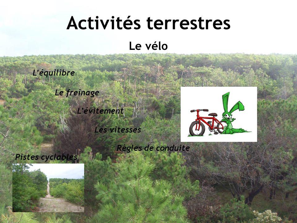 Activités terrestres Le vélo Léquilibre Le freinage Les vitesses Lévitement Règles de conduite Pistes cyclables