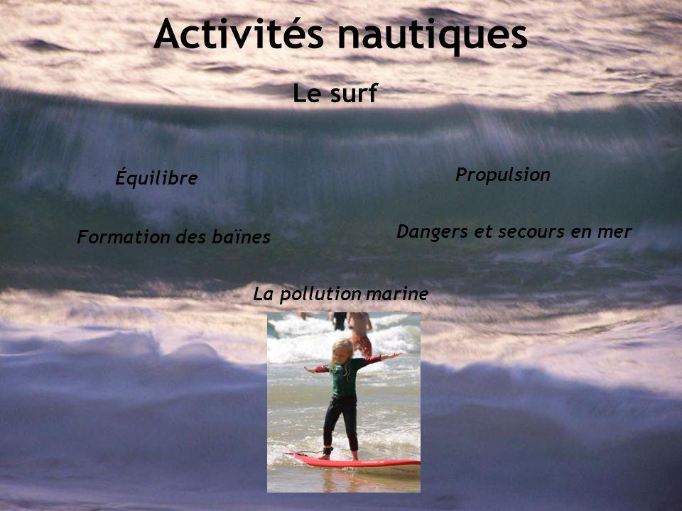 Activités nautiques Le surf Équilibre Propulsion La pollution marine Formation des baïnes Dangers et secours en mer