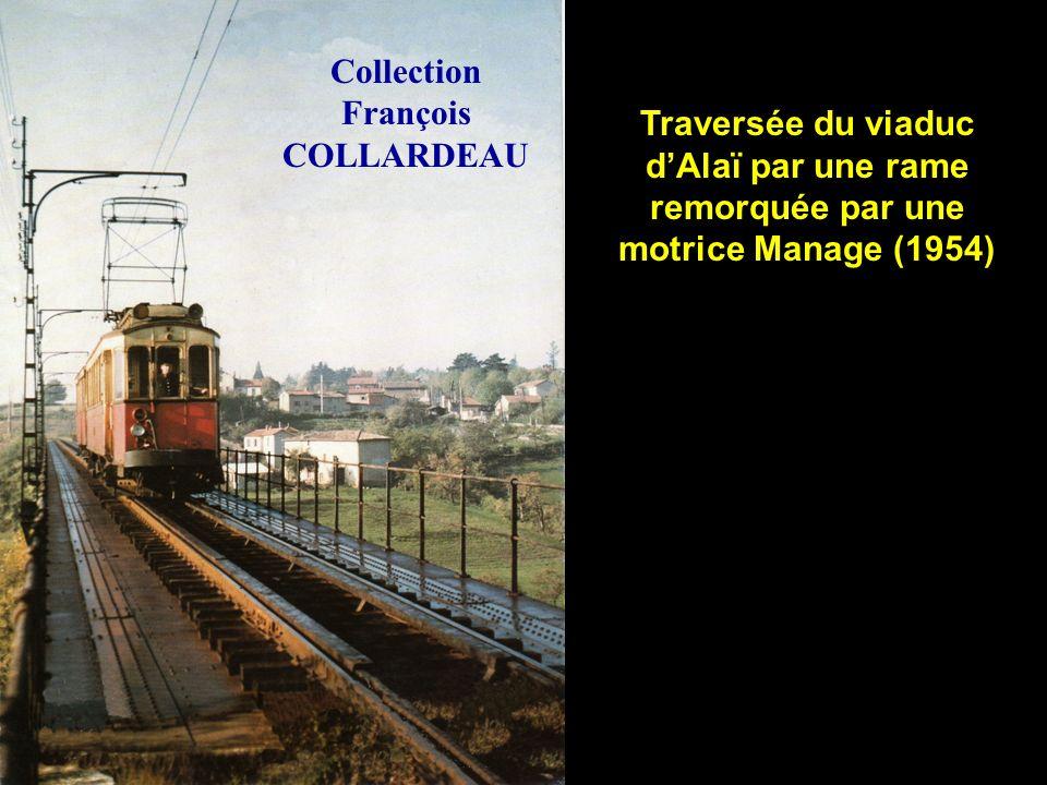 Traversée du viaduc dAlaï par un train remorqué par une Manage (1954) Collection François COLLARDEAU