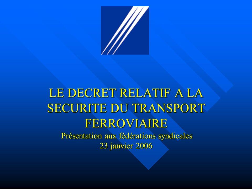 LE DECRET RELATIF A LA SECURITE DU TRANSPORT FERROVIAIRE Présentation aux fédérations syndicales 23 janvier 2006