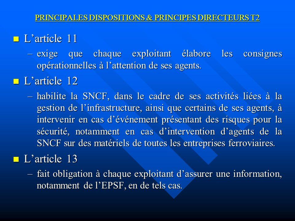 PRINCIPALES DISPOSITIONS & PRINCIPES DIRECTEURS T2 Larticle 11 Larticle 11 –exige que chaque exploitant élabore les consignes opérationnelles à lattention de ses agents.