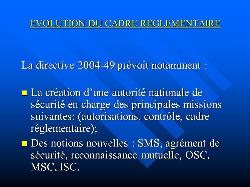 EVOLUTION DU CADRE REGLEMENTAIRE La directive 2004-49 prévoit notamment : La création dune autorité nationale de sécurité en charge des principales missions suivantes: (autorisations, contrôle, cadre réglementaire); La création dune autorité nationale de sécurité en charge des principales missions suivantes: (autorisations, contrôle, cadre réglementaire); Des notions nouvelles : SMS, agrément de sécurité, reconnaissance mutuelle, OSC, MSC, ISC.