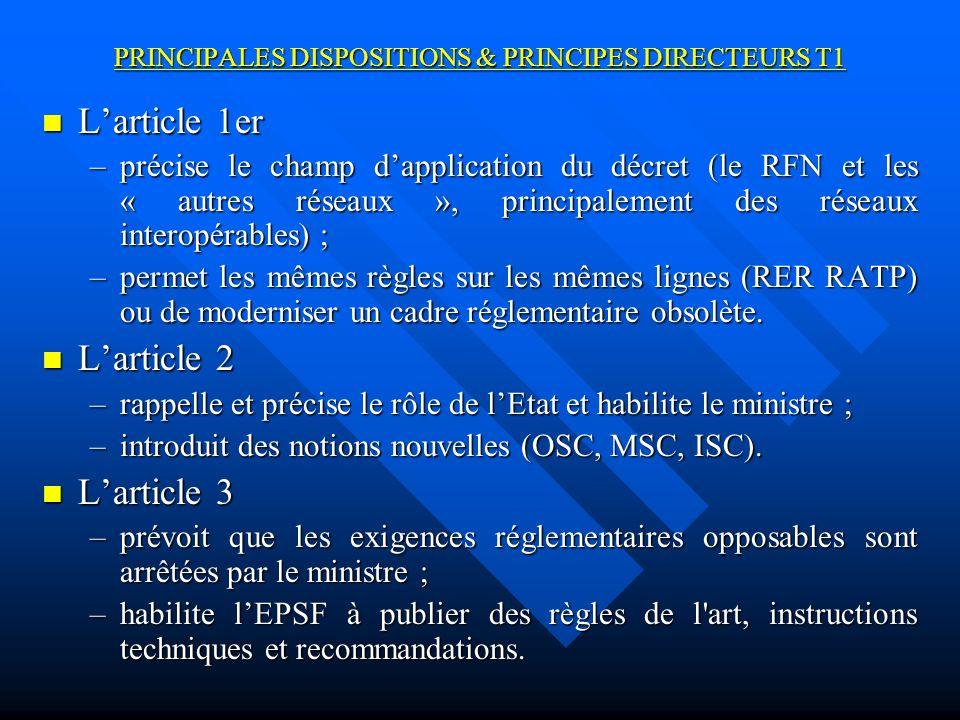 PRINCIPALES DISPOSITIONS & PRINCIPES DIRECTEURS T1 Larticle 4 Larticle 4 –précise les modalités de modification des règles de sécurité ; –prévoit la consultation de toutes les entités concernées requise par la directive.