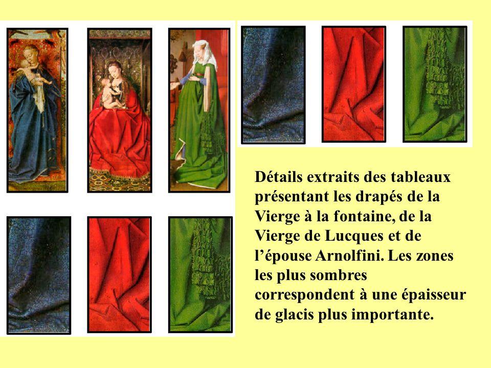 Détails extraits des tableaux présentant les drapés de la Vierge à la fontaine, de la Vierge de Lucques et de lépouse Arnolfini. Les zones les plus so