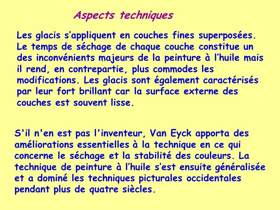 S'il n'en est pas l'inventeur, Van Eyck apporta des améliorations essentielles à la technique en ce qui concerne le séchage et la stabilité des couleu