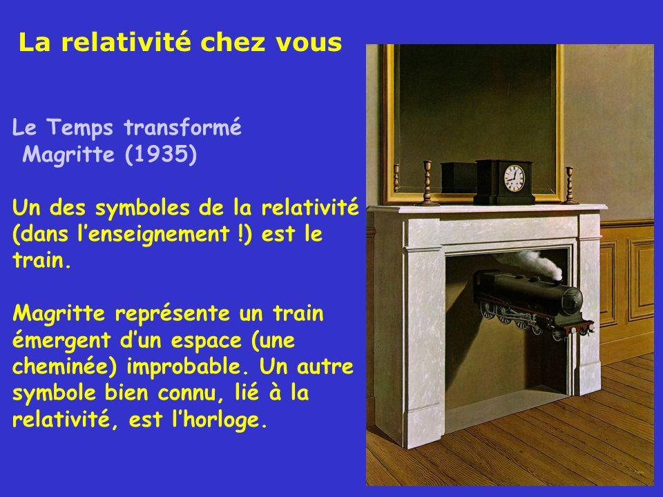 Le Temps transformé Magritte (1935) Un des symboles de la relativité (dans lenseignement !) est le train. Magritte représente un train émergent dun es