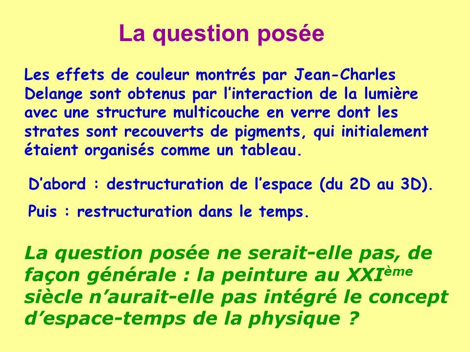La question posée Les effets de couleur montrés par Jean-Charles Delange sont obtenus par linteraction de la lumière avec une structure multicouche en