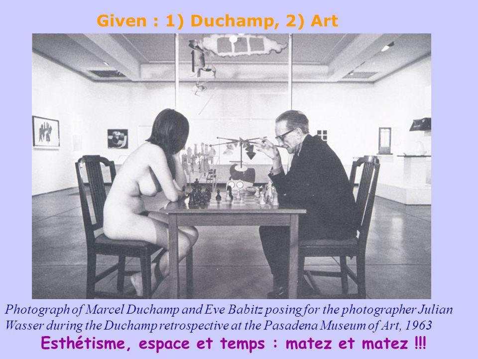 Esthétisme, espace et temps : matez et matez !!! Photograph of Marcel Duchamp and Eve Babitz posing for the photographer Julian Wasser during the Duch