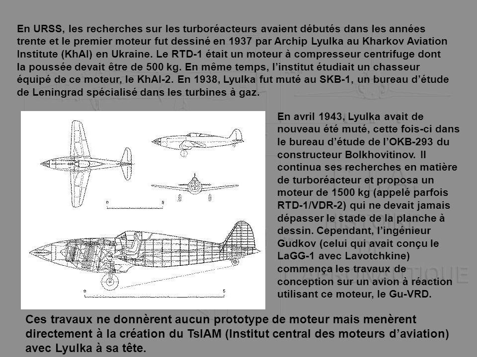 En URSS, les recherches sur les turboréacteurs avaient débutés dans les années trente et le premier moteur fut dessiné en 1937 par Archip Lyulka au Kh