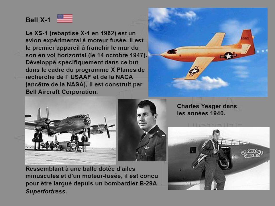 Bell X-1 Le XS-1 (rebaptisé X-1 en 1962) est un avion expérimental à moteur fusée. Il est le premier appareil à franchir le mur du son en vol horizont