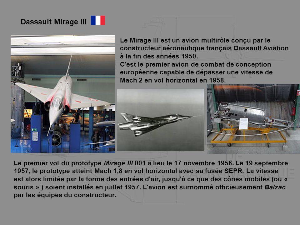 Le Mirage III est un avion multirôle conçu par le constructeur aéronautique français Dassault Aviation à la fin des années 1950. C'est le premier avio