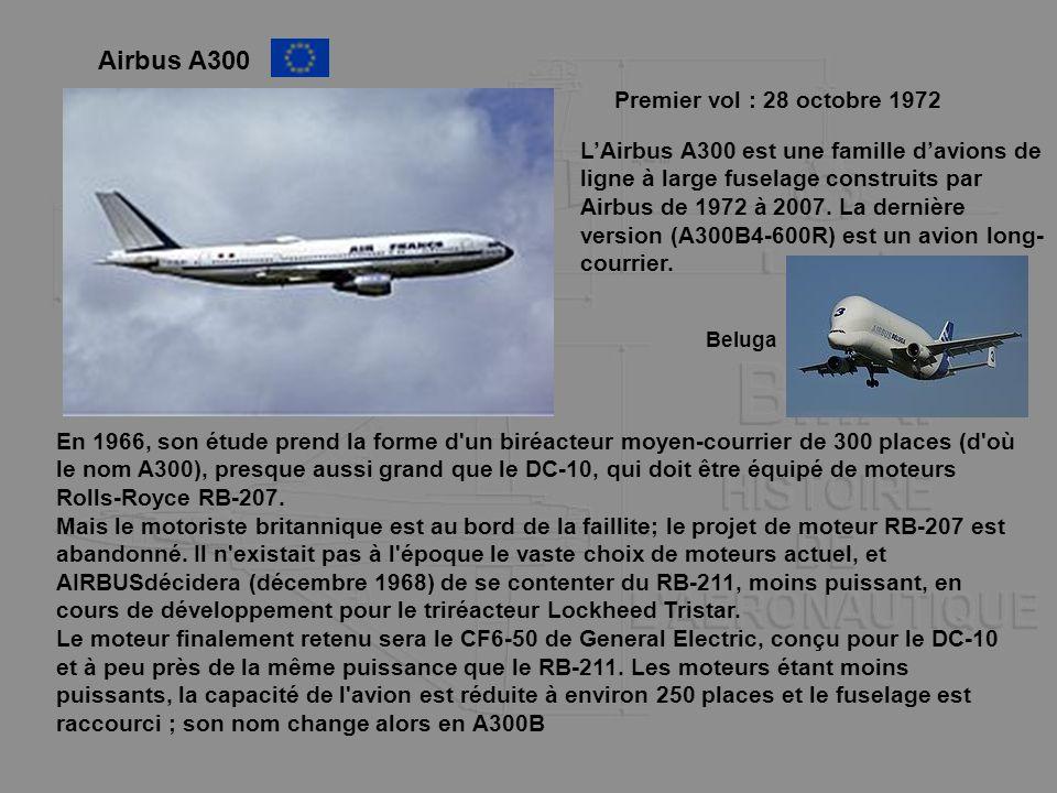 Airbus A300 LAirbus A300 est une famille davions de ligne à large fuselage construits par Airbus de 1972 à 2007. La dernière version (A300B4-600R) est