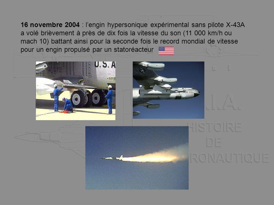 16 novembre 2004 : lengin hypersonique expérimental sans pilote X-43A a volé brièvement à près de dix fois la vitesse du son (11 000 km/h ou mach 10)