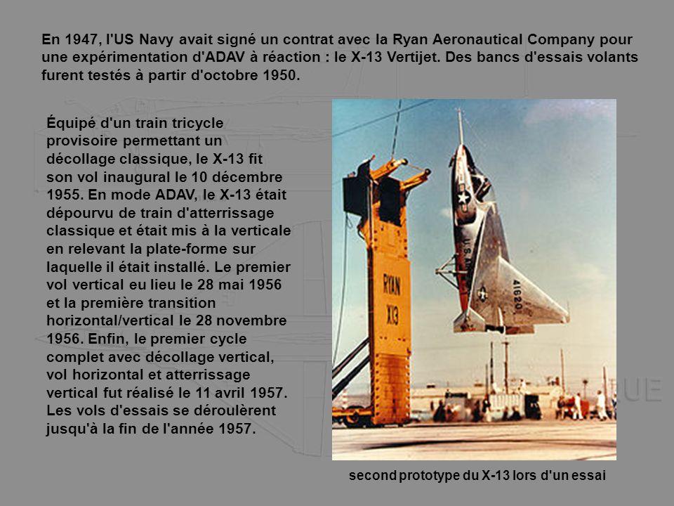 En 1947, l'US Navy avait signé un contrat avec la Ryan Aeronautical Company pour une expérimentation d'ADAV à réaction : le X-13 Vertijet. Des bancs d