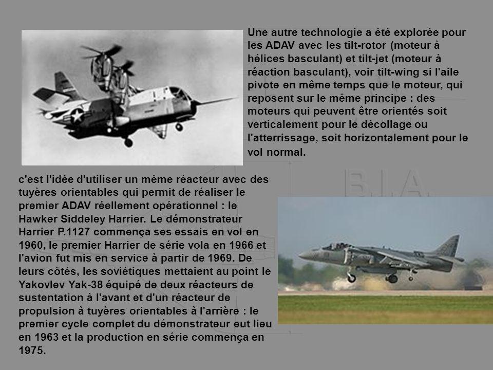 Une autre technologie a été explorée pour les ADAV avec les tilt-rotor (moteur à hélices basculant) et tilt-jet (moteur à réaction basculant), voir ti