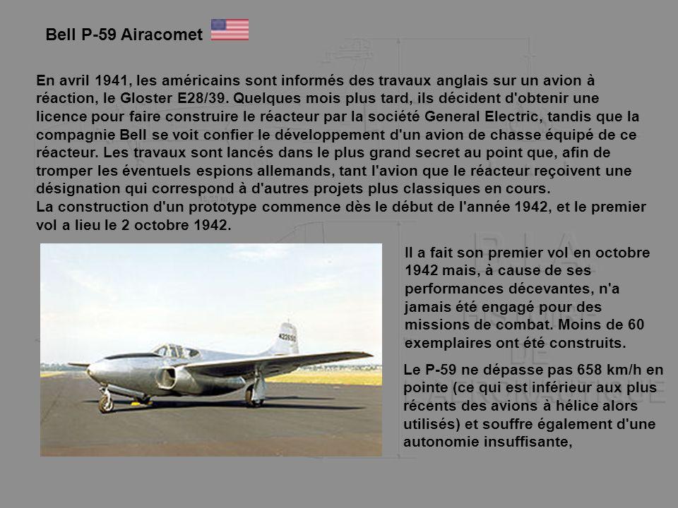 En avril 1941, les américains sont informés des travaux anglais sur un avion à réaction, le Gloster E28/39. Quelques mois plus tard, ils décident d'ob