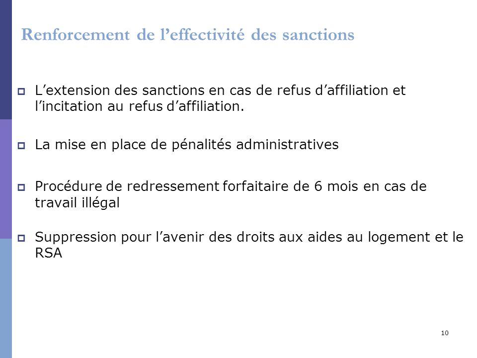 10 Renforcement de leffectivité des sanctions Lextension des sanctions en cas de refus daffiliation et lincitation au refus daffiliation. La mise en p