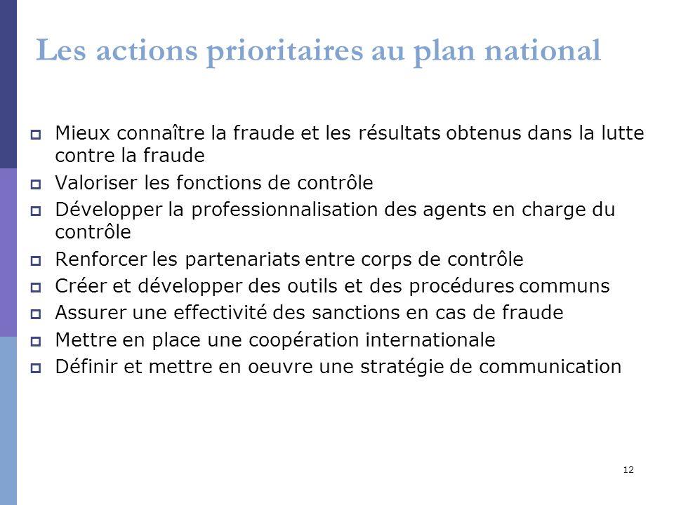 12 Les actions prioritaires au plan national Mieux connaître la fraude et les résultats obtenus dans la lutte contre la fraude Valoriser les fonctions