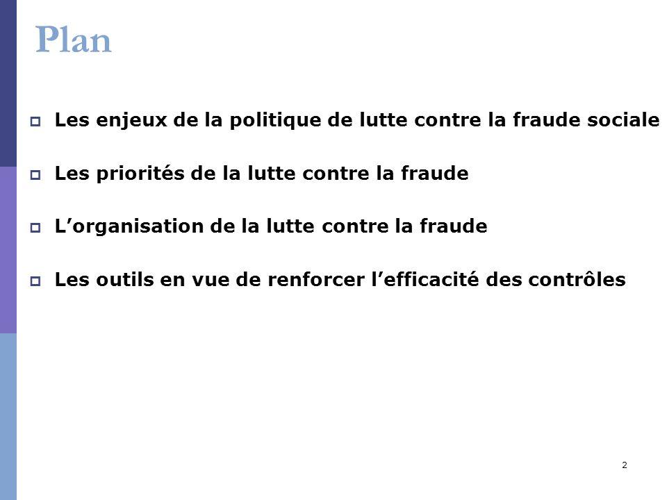 2 Plan Les enjeux de la politique de lutte contre la fraude sociale Les priorités de la lutte contre la fraude Lorganisation de la lutte contre la fra