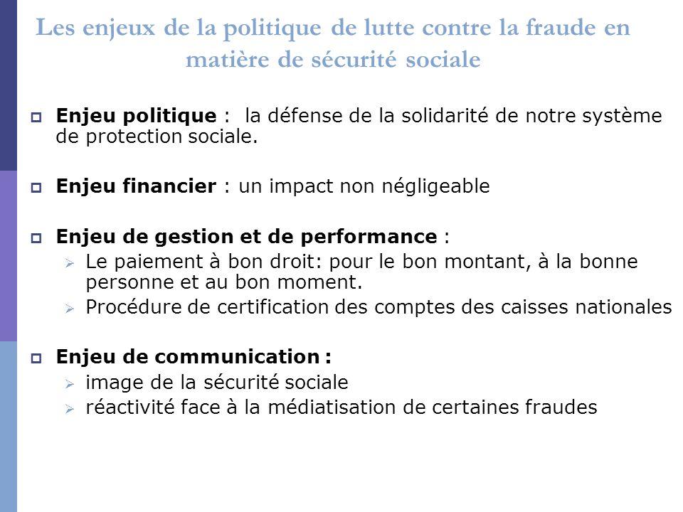 Les enjeux de la politique de lutte contre la fraude en matière de sécurité sociale Enjeu politique : la défense de la solidarité de notre système de