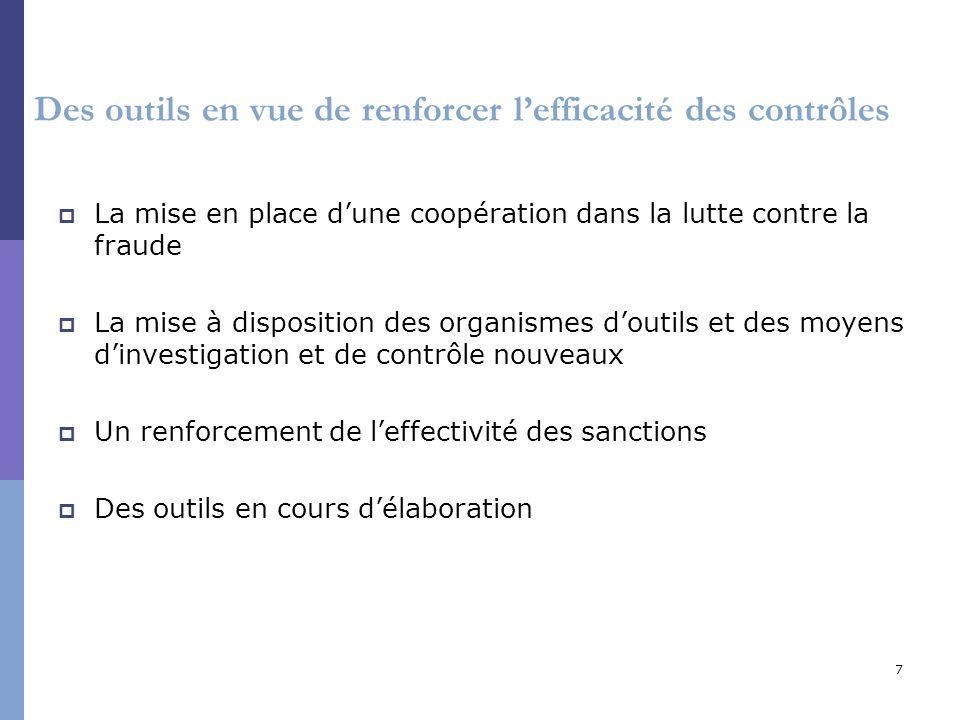 7 Des outils en vue de renforcer lefficacité des contrôles La mise en place dune coopération dans la lutte contre la fraude La mise à disposition des