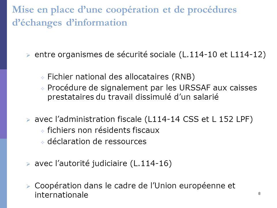 8 Mise en place dune coopération et de procédures déchanges dinformation entre organismes de sécurité sociale (L.114-10 et L114-12) Fichier national d