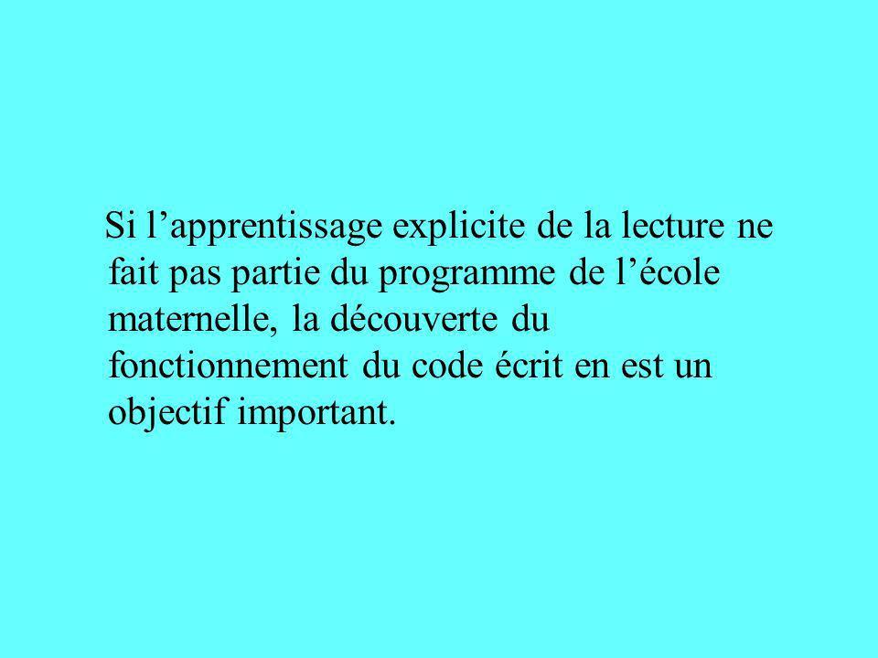 Si lapprentissage explicite de la lecture ne fait pas partie du programme de lécole maternelle, la découverte du fonctionnement du code écrit en est u