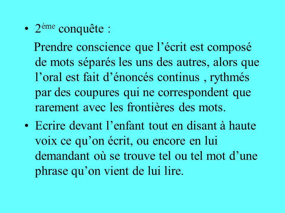 2 ème conquête : Prendre conscience que lécrit est composé de mots séparés les uns des autres, alors que loral est fait dénoncés continus, rythmés par
