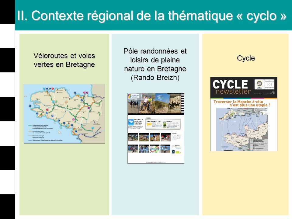 II. Contexte régional de la thématique « cyclo » Pôle randonnées et loisirs de pleine nature en Bretagne Pôle randonnées et loisirs de pleine nature e
