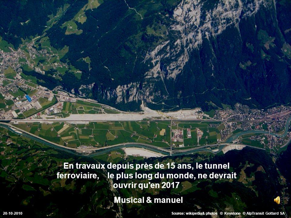 En travaux depuis près de 15 ans, le tunnel ferroviaire, le plus long du monde, ne devrait ouvrir qu en 2017 Source: wikipedia& photos © Keystone © AlpTransit Gottard SA.