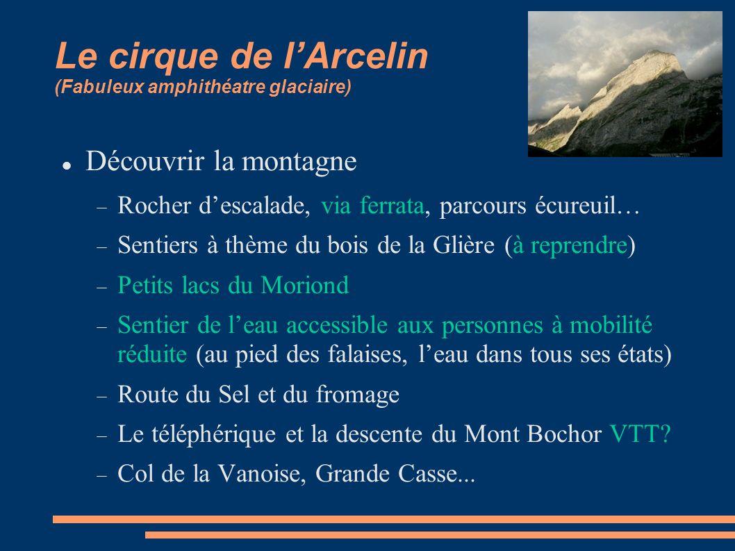 Le cirque de lArcelin (Fabuleux amphithéatre glaciaire) Découvrir la montagne Rocher descalade, via ferrata, parcours écureuil… Sentiers à thème du bo