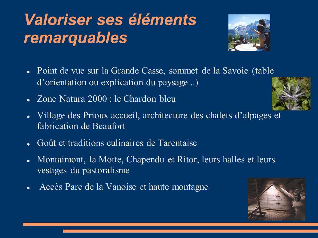 Valoriser ses éléments remarquables Point de vue sur la Grande Casse, sommet de la Savoie (table dorientation ou explication du paysage...) Zone Natur