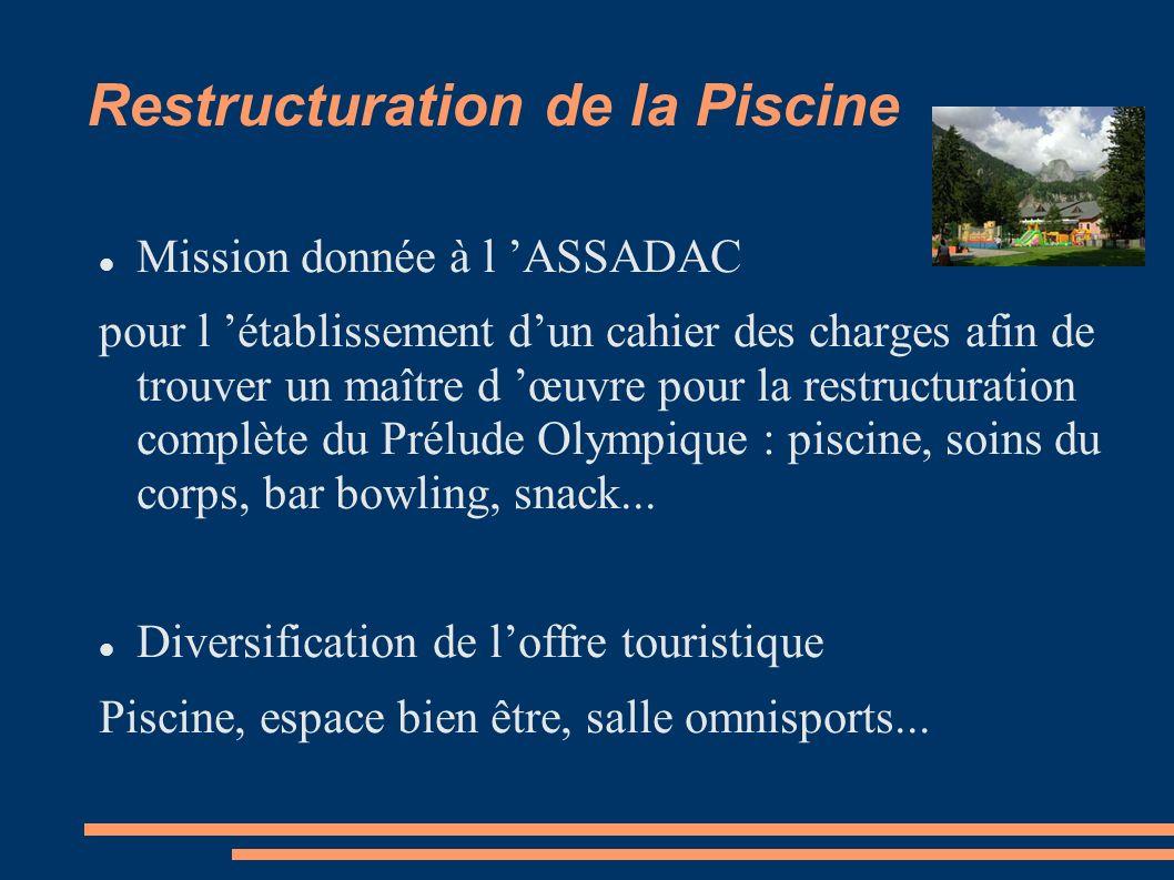 Restructuration de la Piscine Mission donnée à l ASSADAC pour l établissement dun cahier des charges afin de trouver un maître d œuvre pour la restructuration complète du Prélude Olympique : piscine, soins du corps, bar bowling, snack...