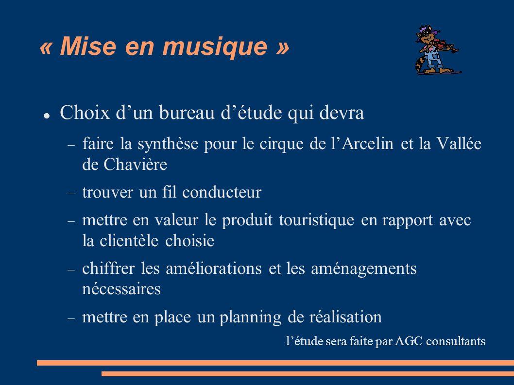 « Mise en musique » Choix dun bureau détude qui devra faire la synthèse pour le cirque de lArcelin et la Vallée de Chavière trouver un fil conducteur