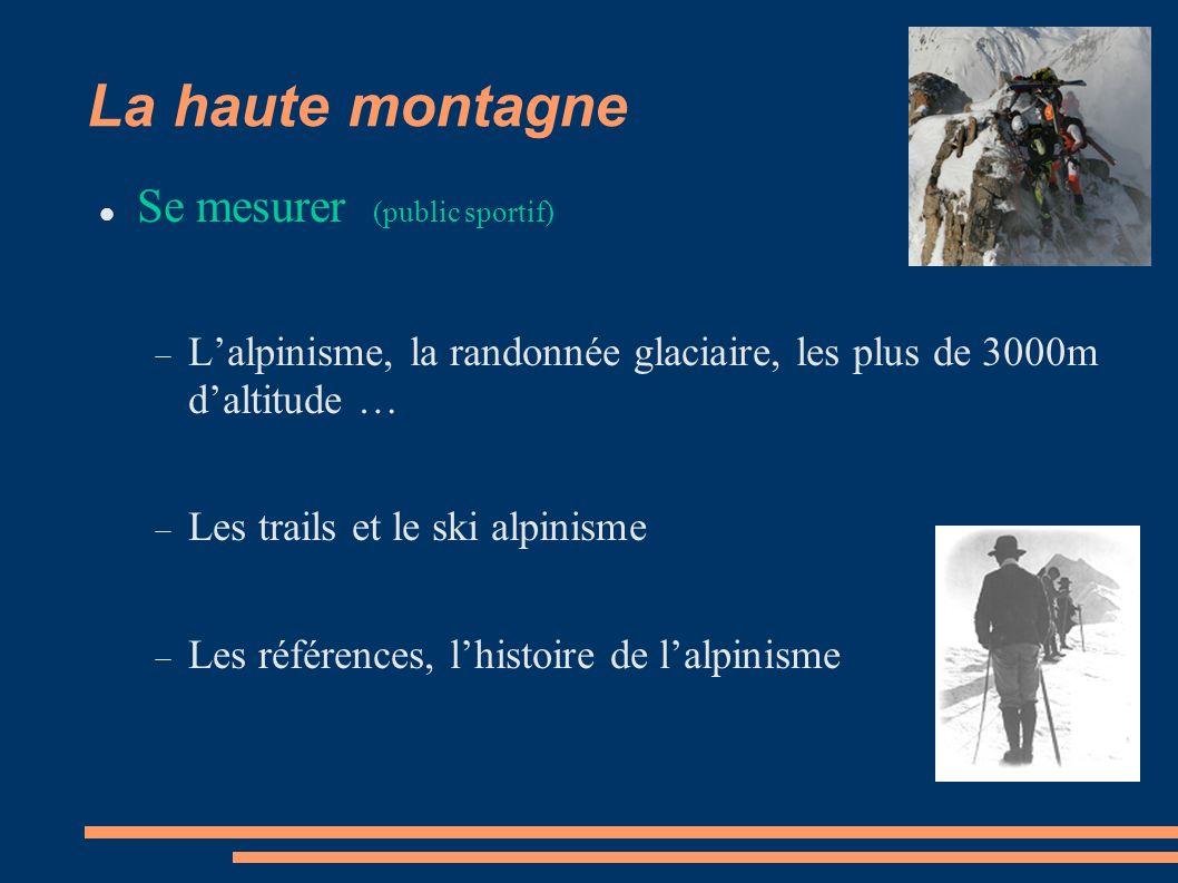 La haute montagne Se mesurer (public sportif) Lalpinisme, la randonnée glaciaire, les plus de 3000m daltitude … Les trails et le ski alpinisme Les références, lhistoire de lalpinisme
