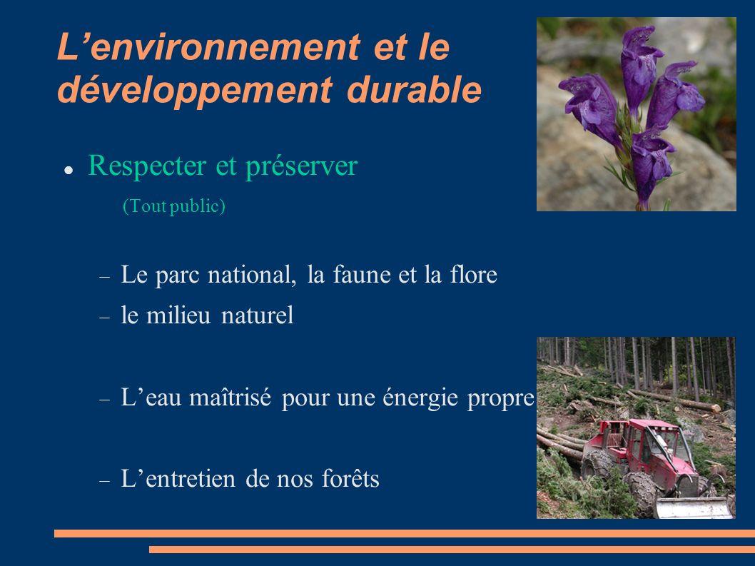 Lenvironnement et le développement durable Respecter et préserver (Tout public) Le parc national, la faune et la flore le milieu naturel Leau maîtrisé pour une énergie propre Lentretien de nos forêts